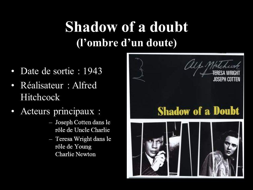 Shadow of a doubt (lombre dun doute) Date de sortie : 1943 Réalisateur : Alfred Hitchcock Acteurs principaux : –Joseph Cotten dans le rôle de Uncle Ch