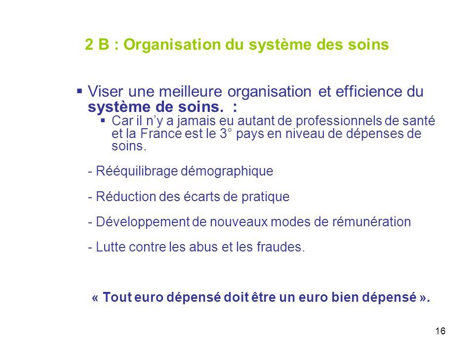 16 2 B : Organisation du système des soins Viser une meilleure organisation et efficience du système de soins.