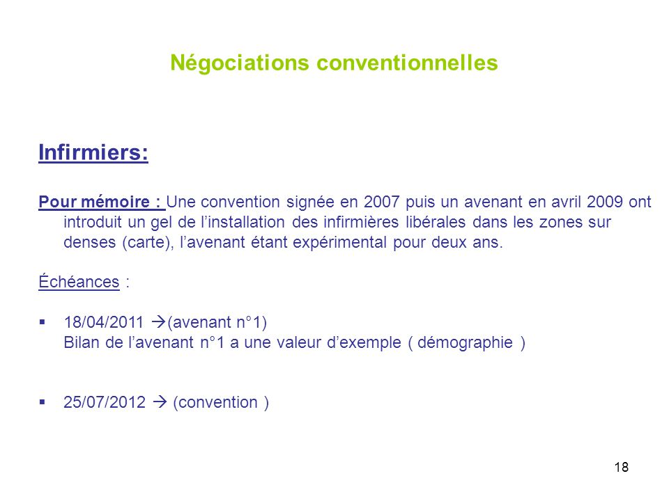 18 Négociations conventionnelles Infirmiers: Pour mémoire : Une convention signée en 2007 puis un avenant en avril 2009 ont introduit un gel de linstallation des infirmières libérales dans les zones sur denses (carte), lavenant étant expérimental pour deux ans.