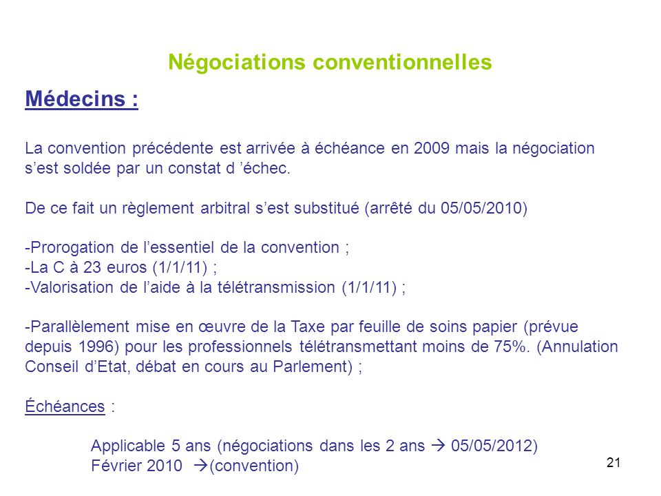 21 Négociations conventionnelles Médecins : La convention précédente est arrivée à échéance en 2009 mais la négociation sest soldée par un constat d échec.