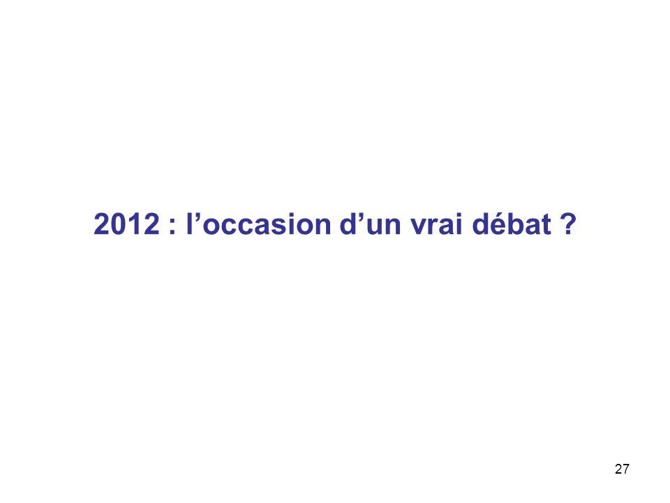 27 2012 : loccasion dun vrai débat