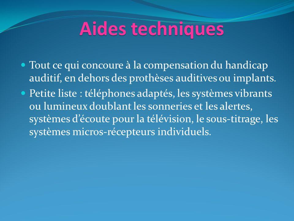 Aidestechniques Aides techniques Tout ce qui concoure à la compensation du handicap auditif, en dehors des prothèses auditives ou implants.