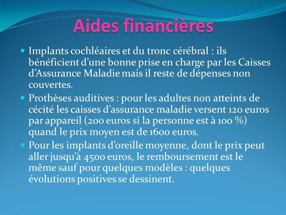 Aides financières Implants cochléaires et du tronc cérébral : ils bénéficient dune bonne prise en charge par les Caisses dAssurance Maladie mais il reste de dépenses non couvertes.