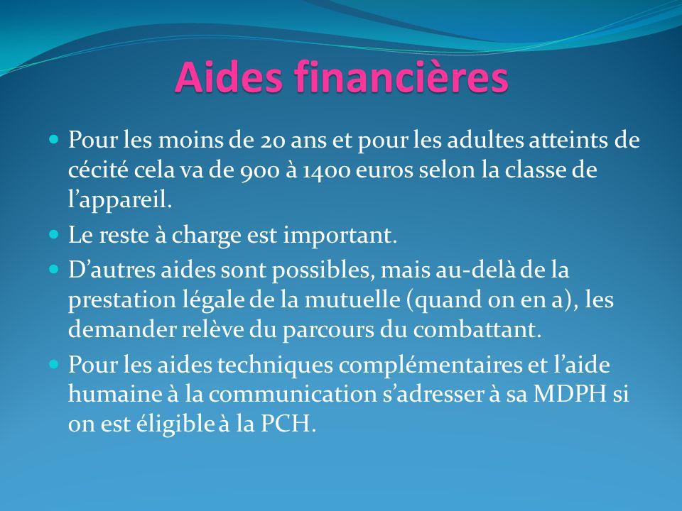 Aides financières Pour les moins de 20 ans et pour les adultes atteints de cécité cela va de 900 à 1400 euros selon la classe de lappareil.