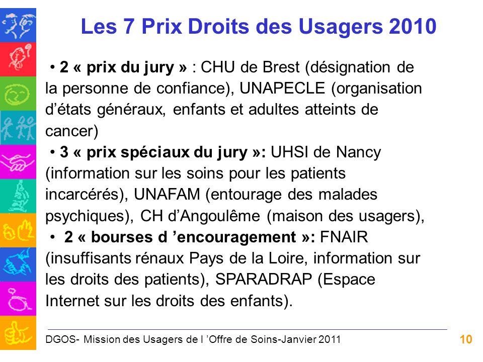 10 Les 7 Prix Droits des Usagers 2010 2 « prix du jury » : CHU de Brest (désignation de la personne de confiance), UNAPECLE (organisation détats génér