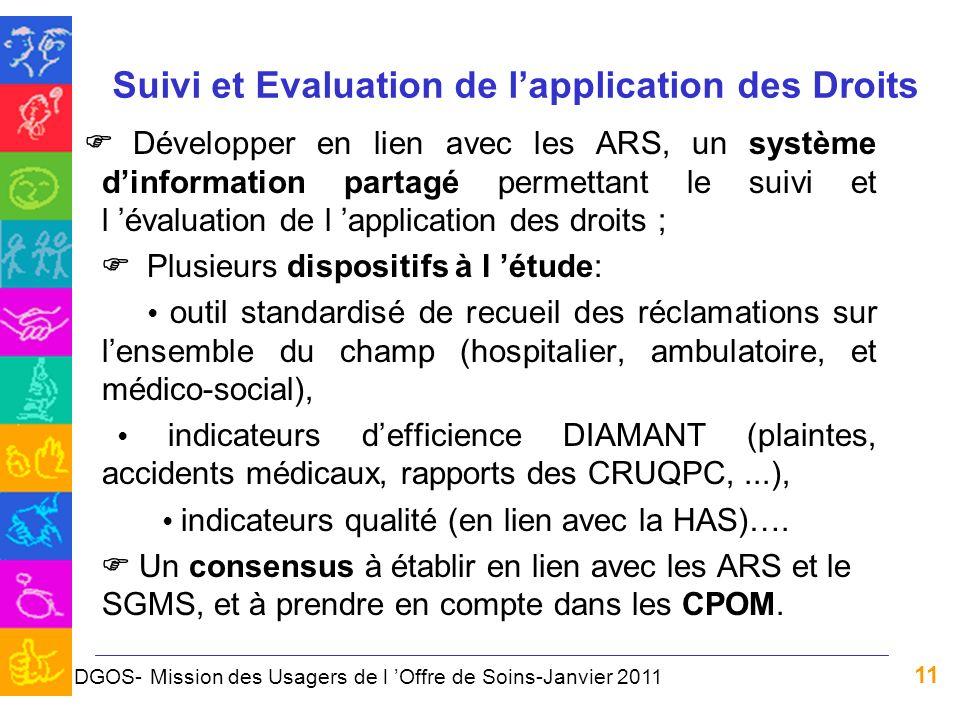 11 Suivi et Evaluation de lapplication des Droits Développer en lien avec les ARS, un système dinformation partagé permettant le suivi et l évaluation