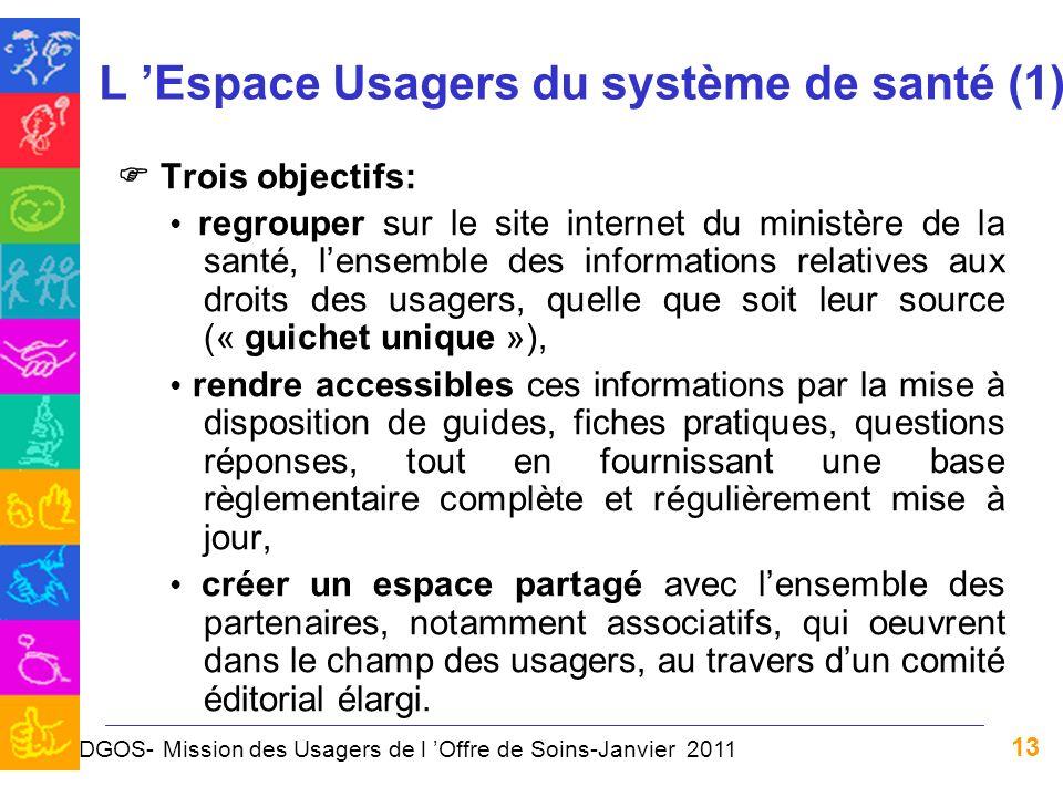 13 L Espace Usagers du système de santé (1) Trois objectifs: regrouper sur le site internet du ministère de la santé, lensemble des informations relat