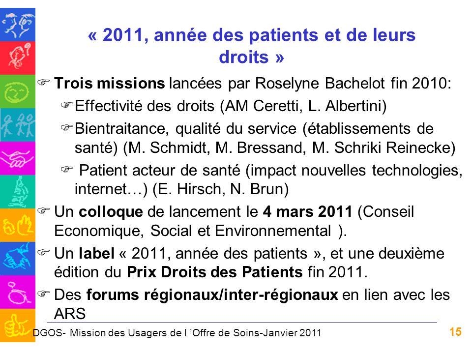 15 « 2011, année des patients et de leurs droits » FTrois missions lancées par Roselyne Bachelot fin 2010: FEffectivité des droits (AM Ceretti, L. Alb