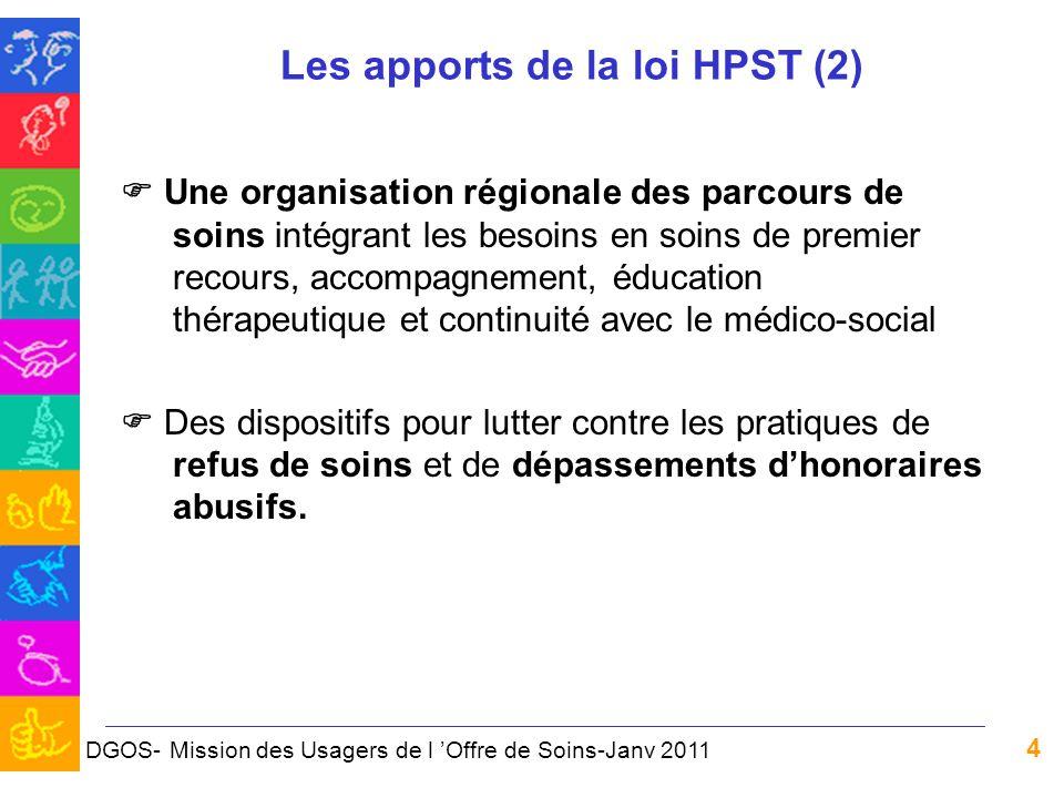 4 Les apports de la loi HPST (2) Une organisation régionale des parcours de soins intégrant les besoins en soins de premier recours, accompagnement, é