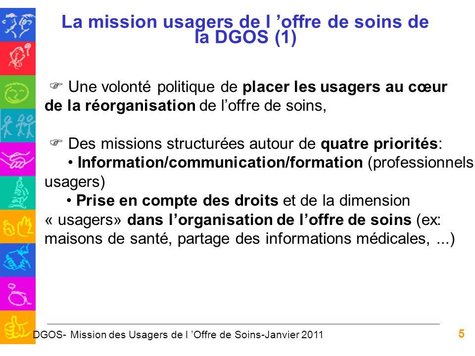 5 La mission usagers de l offre de soins de la DGOS (1) Une volonté politique de placer les usagers au cœur de la réorganisation de loffre de soins, D