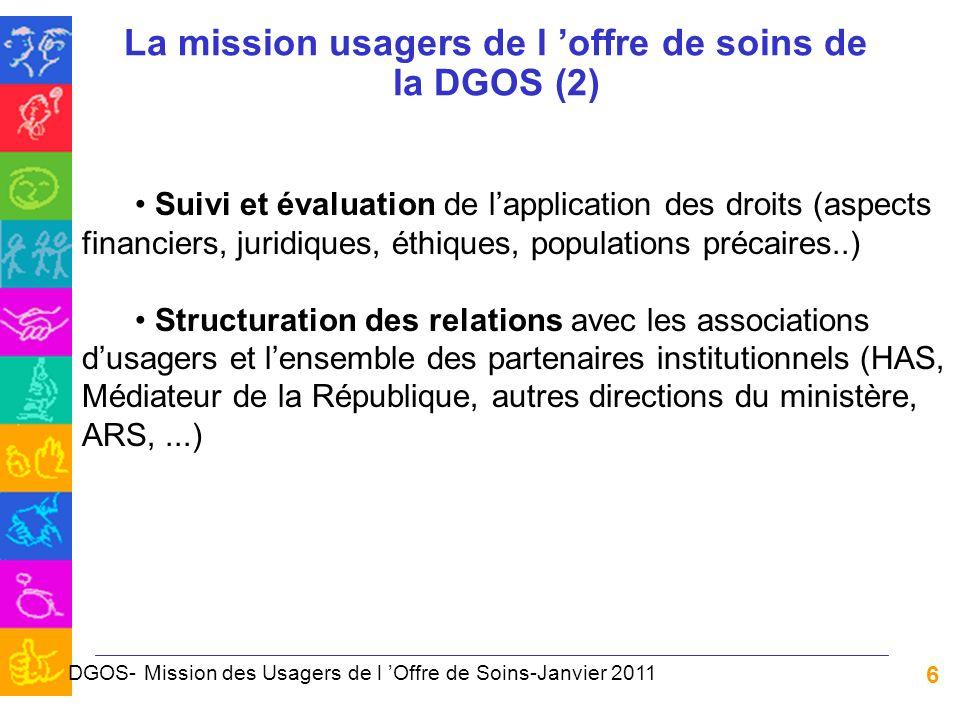 6 La mission usagers de l offre de soins de la DGOS (2) Suivi et évaluation de lapplication des droits (aspects financiers, juridiques, éthiques, popu
