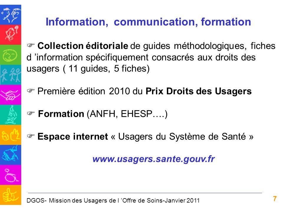 7 Information, communication, formation Collection éditoriale de guides méthodologiques, fiches d information spécifiquement consacrés aux droits des
