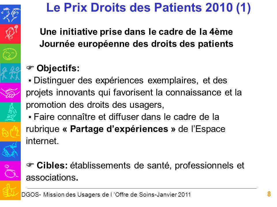 8 Le Prix Droits des Patients 2010 (1) Une initiative prise dans le cadre de la 4ème Journée européenne des droits des patients Objectifs: Distinguer