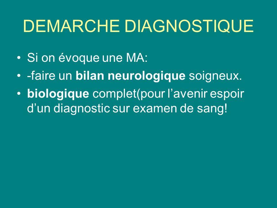 DEMARCHE DIAGNOSTIQUE Si on évoque une MA: -faire un bilan neurologique soigneux.