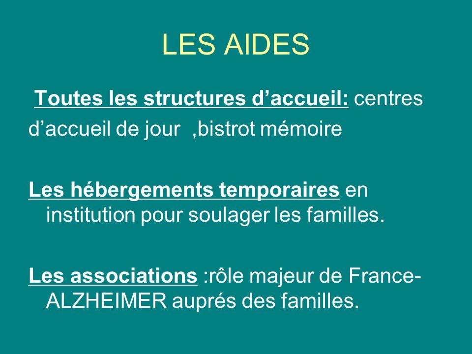 LES AIDES Toutes les structures daccueil: centres daccueil de jour,bistrot mémoire Les hébergements temporaires en institution pour soulager les familles.
