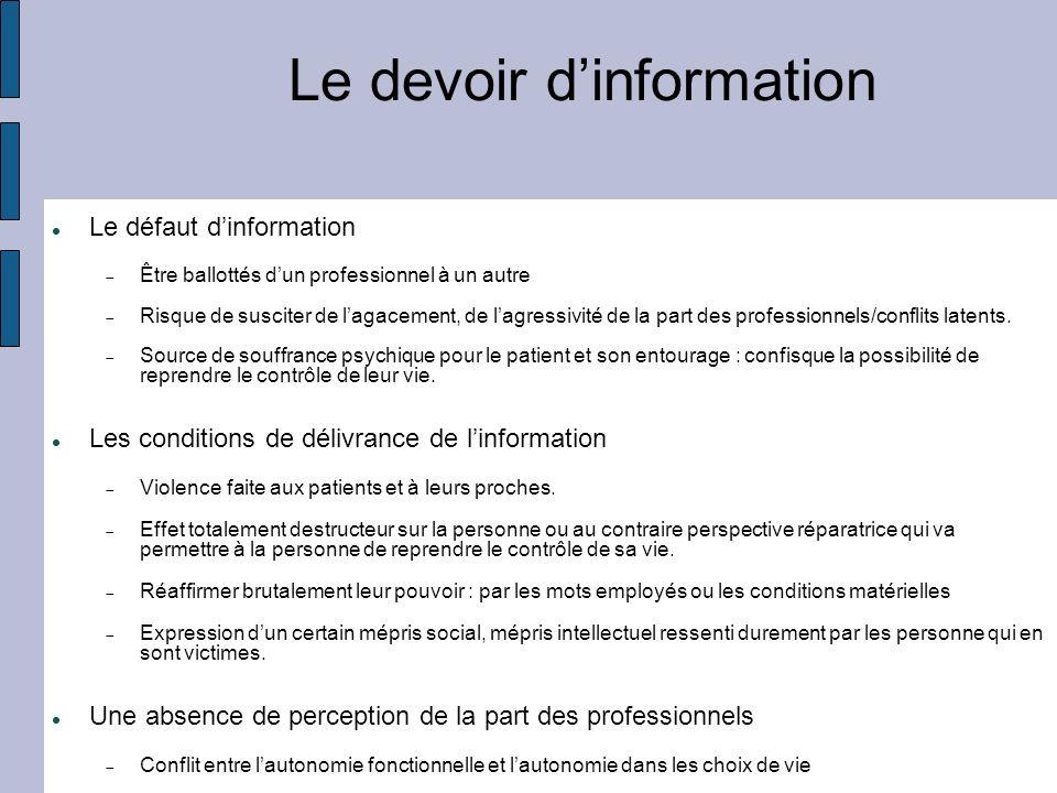 Le devoir dinformation Le défaut dinformation Être ballottés dun professionnel à un autre Risque de susciter de lagacement, de lagressivité de la part des professionnels/conflits latents.