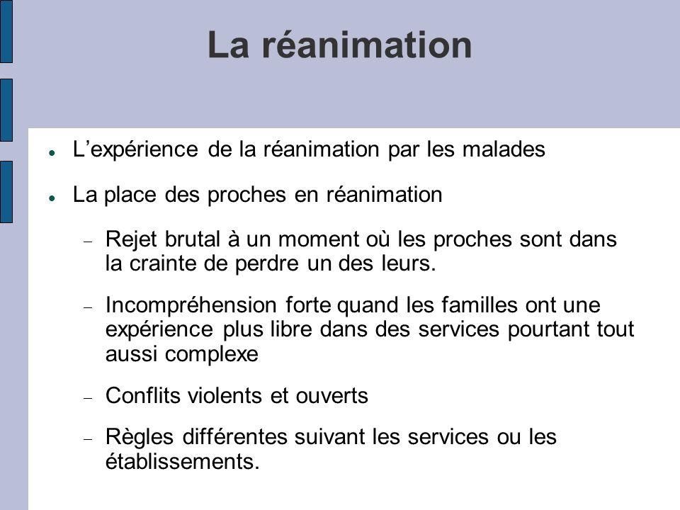 La réanimation Lexpérience de la réanimation par les malades La place des proches en réanimation Rejet brutal à un moment où les proches sont dans la crainte de perdre un des leurs.