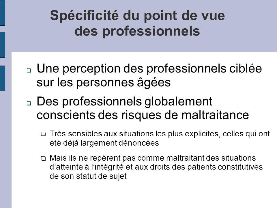 Spécificité du point de vue des professionnels Une perception des professionnels ciblée sur les personnes âgées Des professionnels globalement conscie