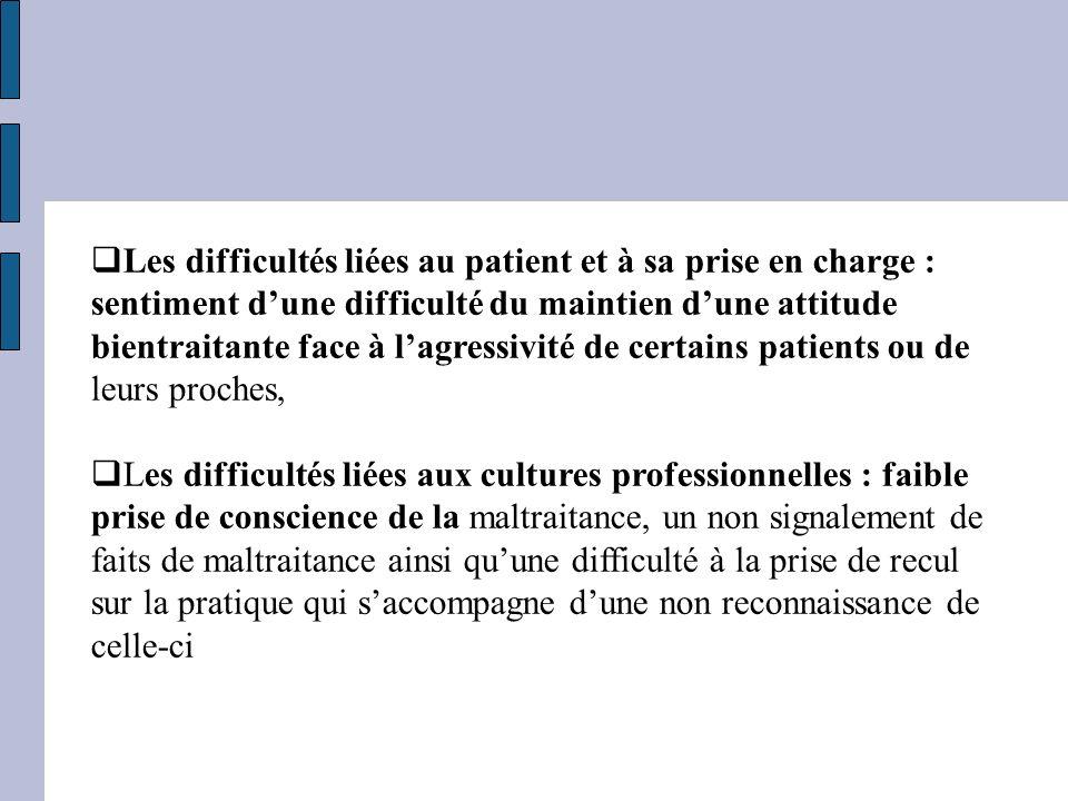 Les difficultés liées au patient et à sa prise en charge : sentiment dune difficulté du maintien dune attitude bientraitante face à lagressivité de ce