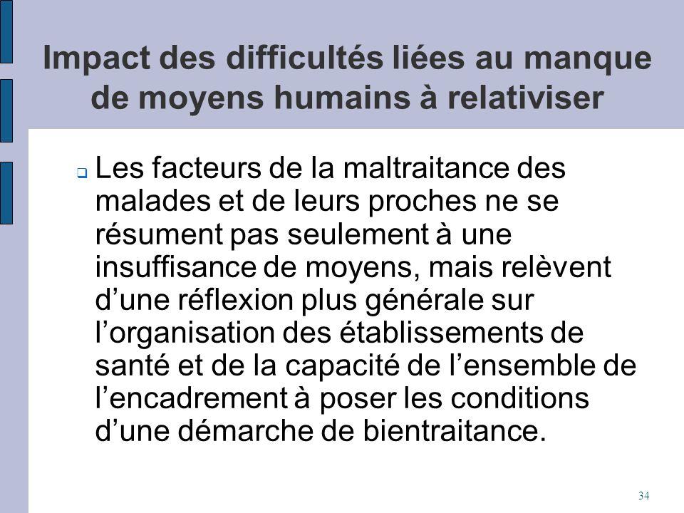 Impact des difficultés liées au manque de moyens humains à relativiser Les facteurs de la maltraitance des malades et de leurs proches ne se résument