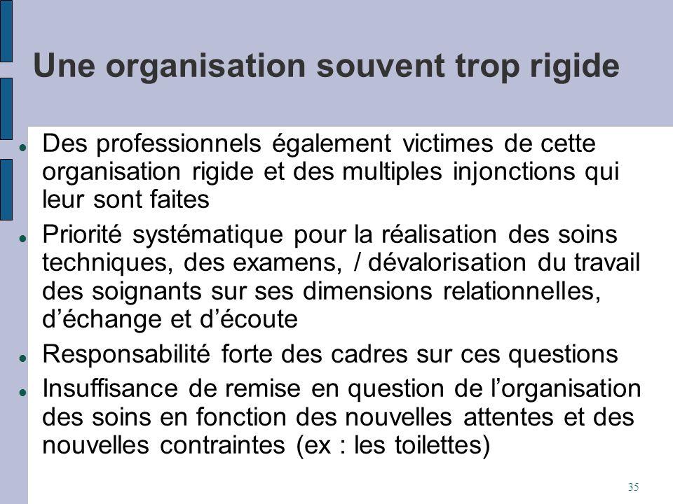 Une organisation souvent trop rigide Des professionnels également victimes de cette organisation rigide et des multiples injonctions qui leur sont fai