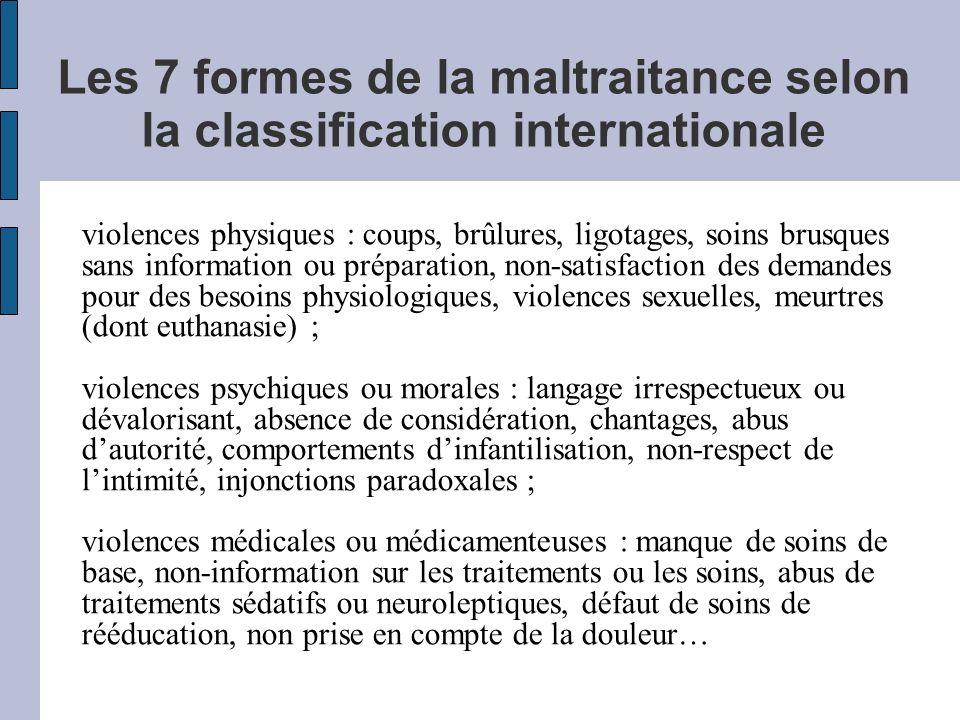 Les 7 formes de la maltraitance selon la classification internationale violences physiques : coups, brûlures, ligotages, soins brusques sans informati