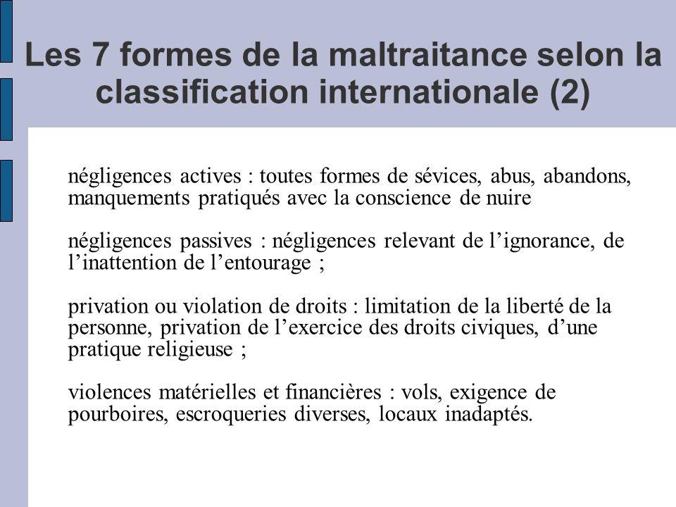 Les 7 formes de la maltraitance selon la classification internationale (2) négligences actives : toutes formes de sévices, abus, abandons, manquements