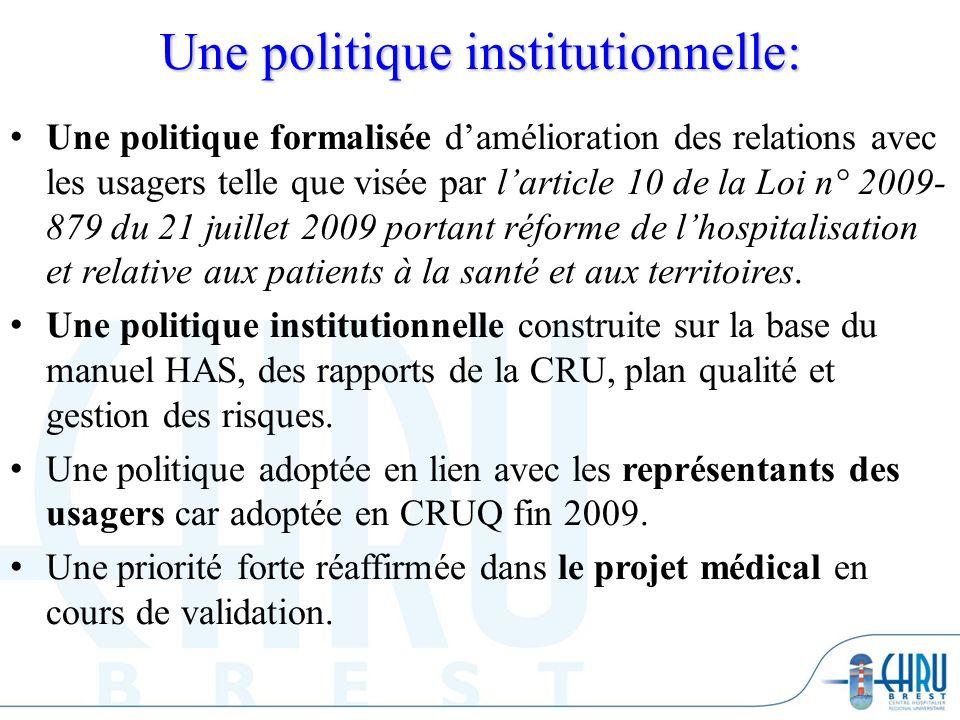 Une politique institutionnelle: Une politique formalisée damélioration des relations avec les usagers telle que visée par larticle 10 de la Loi n° 200