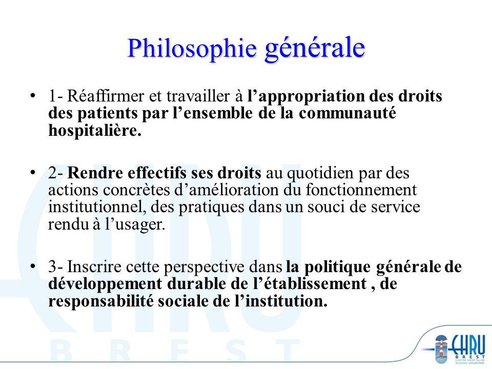 Philosophie générale 1- Réaffirmer et travailler à lappropriation des droits des patients par lensemble de la communauté hospitalière. 2- Rendre effec