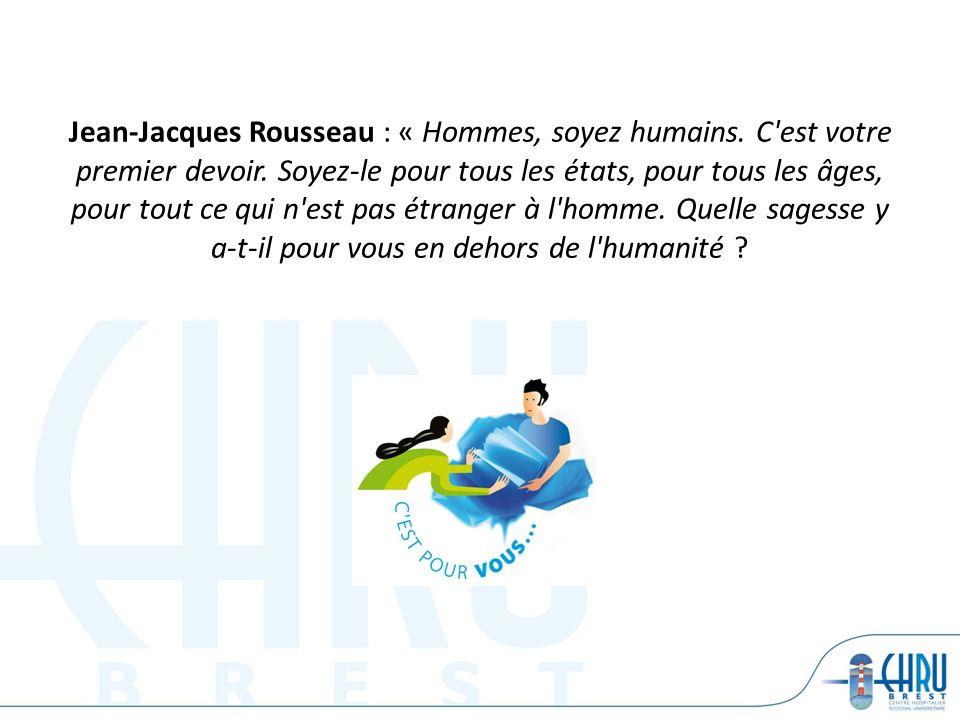 Jean-Jacques Rousseau : « Hommes, soyez humains. C'est votre premier devoir. Soyez-le pour tous les états, pour tous les âges, pour tout ce qui n'est