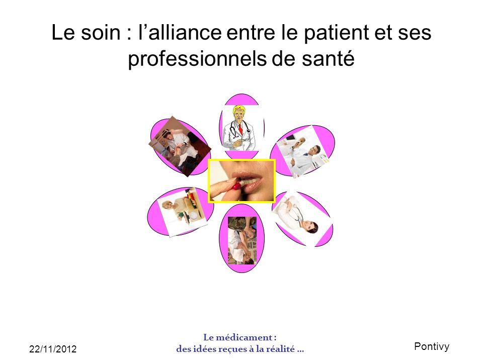 Pontivy 22/11/2012 Le médicament : des idées reçues à la réalité … Le soin : lalliance entre le patient et ses professionnels de santé