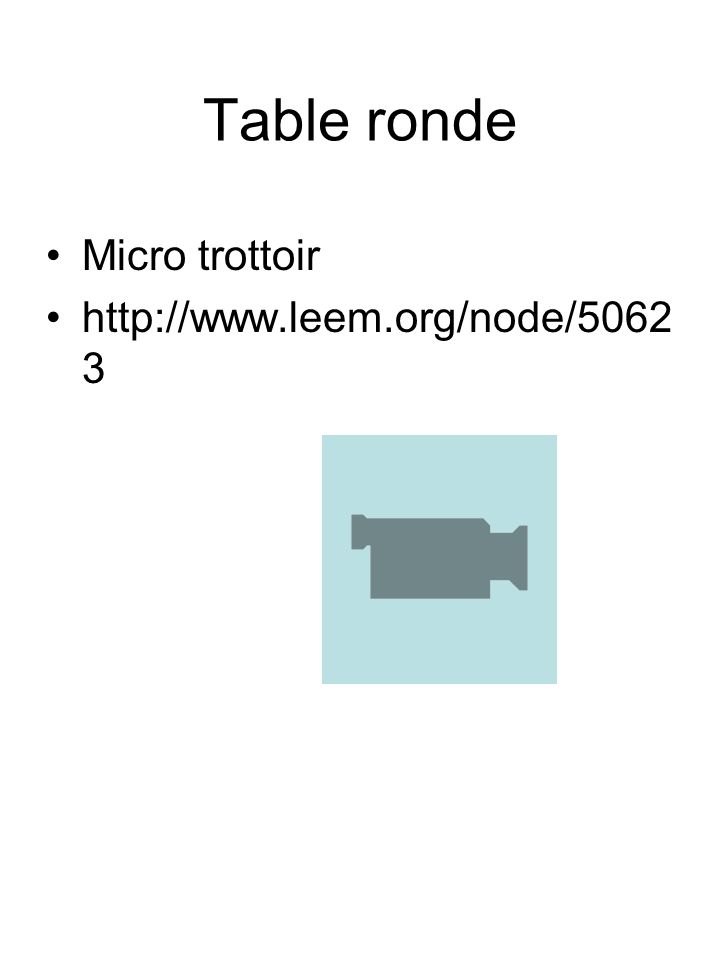 Table ronde Micro trottoir http://www.leem.org/node/5062 3