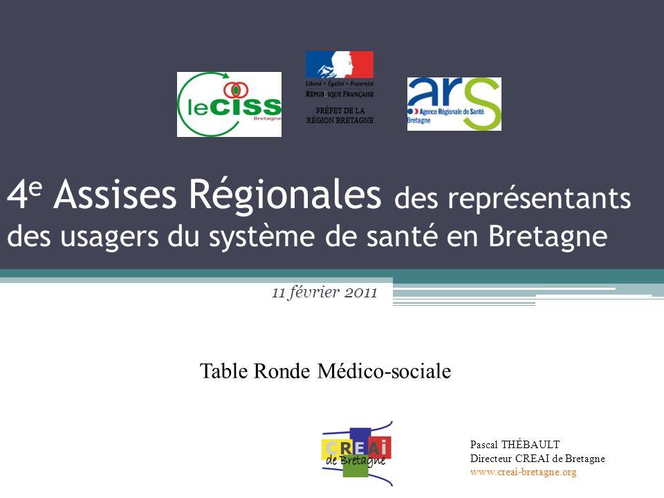 4 e Assises Régionales des représentants des usagers du système de santé en Bretagne 11 février 2011 Pascal THÉBAULT Directeur CREAI de Bretagne www.c