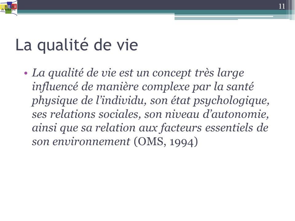 La qualité de vie La qualité de vie est un concept très large influencé de manière complexe par la santé physique de lindividu, son état psychologique