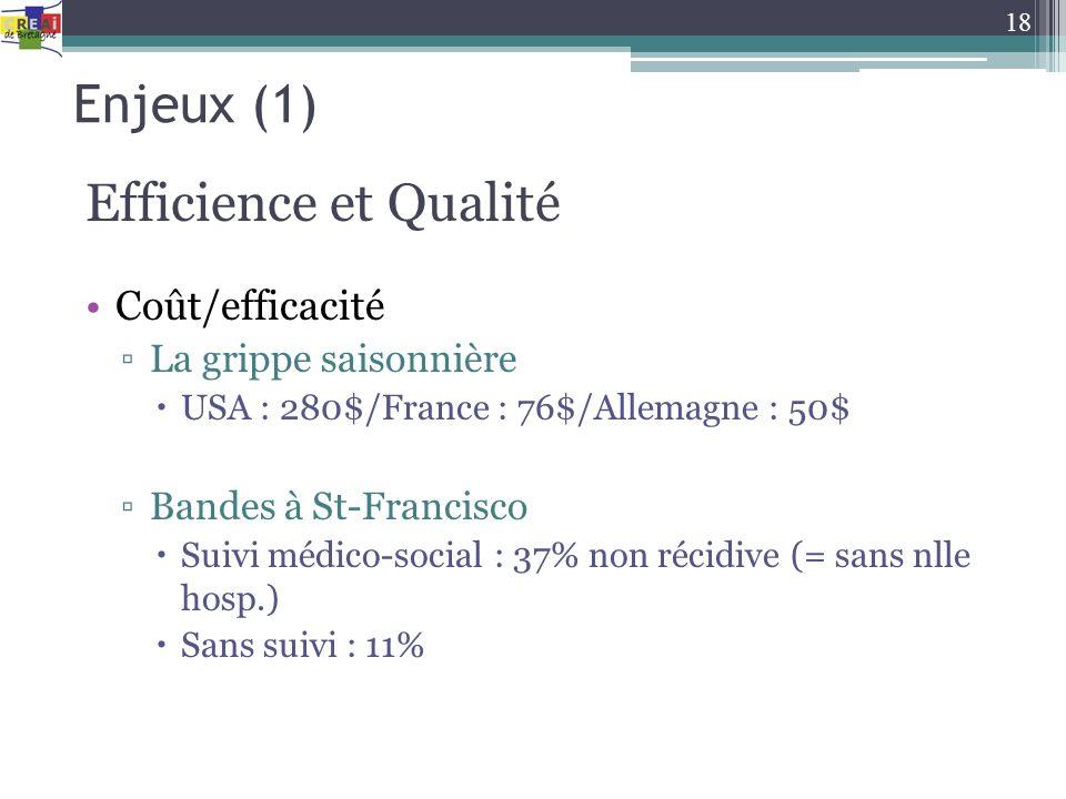 Enjeux (1) Efficience et Qualité Coût/efficacité La grippe saisonnière USA : 280$/France : 76$/Allemagne : 50$ Bandes à St-Francisco Suivi médico-soci