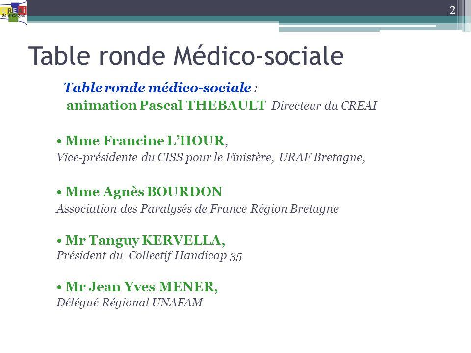 Table ronde Médico-sociale Table ronde médico-sociale : animation Pascal THEBAULT Directeur du CREAI Mme Francine LHOUR, Vice-présidente du CISS pour