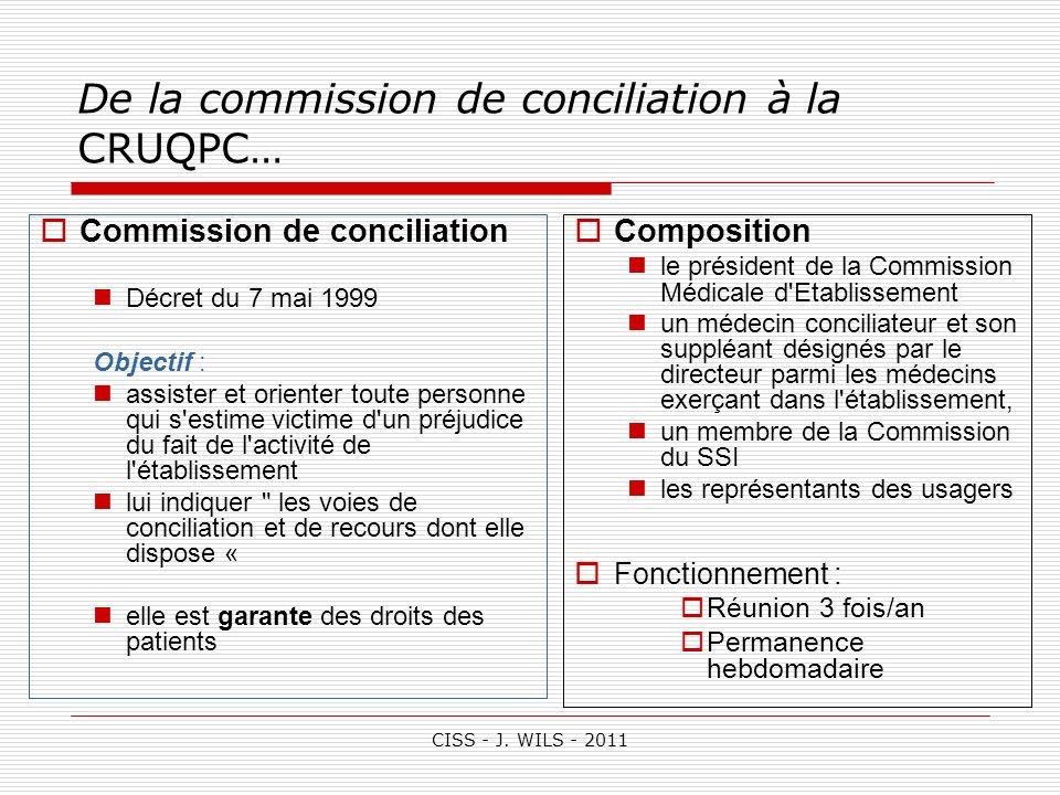 CISS - J. WILS - 2011 De la commission de conciliation à la CRUQPC… Commission de conciliation Décret du 7 mai 1999 Objectif : assister et orienter to