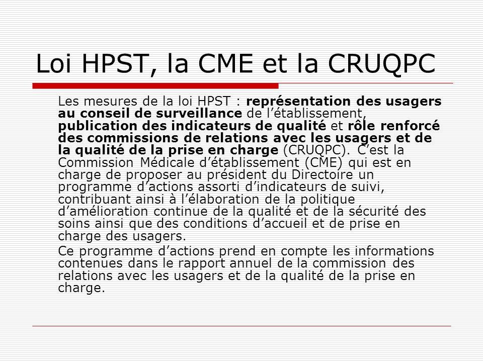 Loi HPST, la CME et la CRUQPC Les mesures de la loi HPST : représentation des usagers au conseil de surveillance de létablissement, publication des in