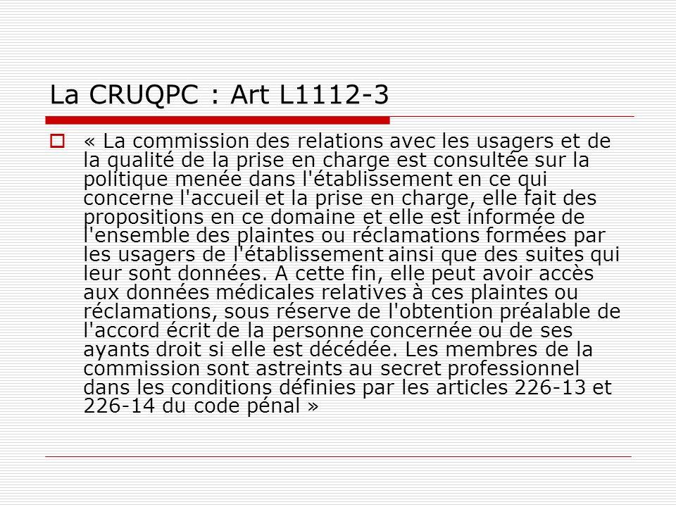 La CRUQPC : Art L1112-3 « La commission des relations avec les usagers et de la qualité de la prise en charge est consultée sur la politique menée dan