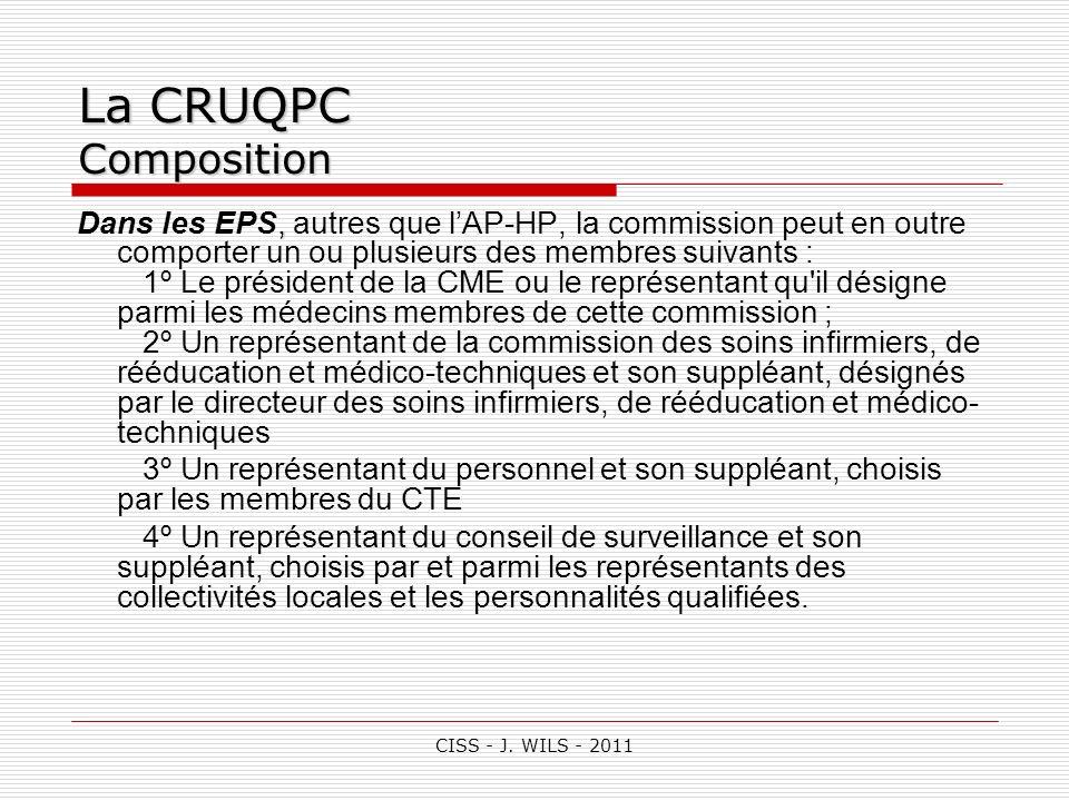 CISS - J. WILS - 2011 La CRUQPC Composition, Dans les EPS, autres que lAP-HP, la commission peut en outre comporter un ou plusieurs des membres suivan