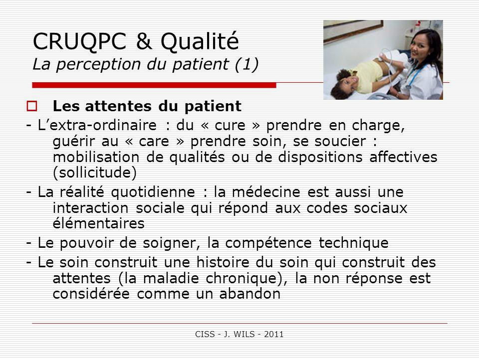 CISS - J. WILS - 2011 CRUQPC & Qualité La perception du patient (1) Les attentes du patient - Lextra-ordinaire : du « cure » prendre en charge, guérir