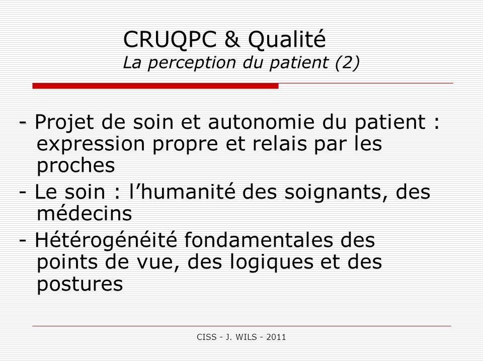 CISS - J. WILS - 2011 CRUQPC & Qualité La perception du patient (2) - - Projet de soin et autonomie du patient : expression propre et relais par les p