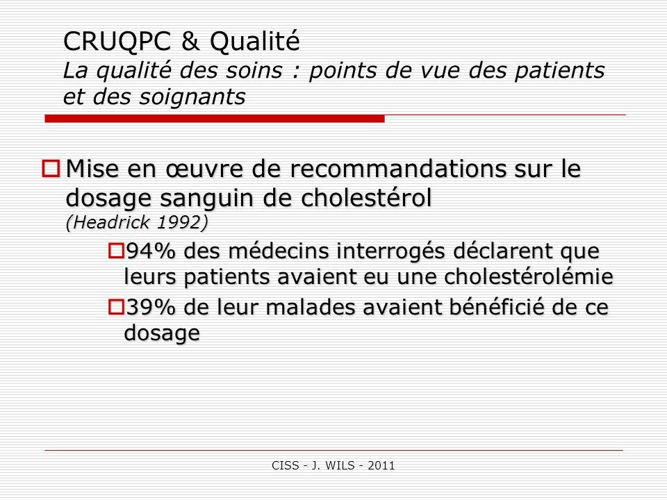 CISS - J. WILS - 2011 CRUQPC & Qualité La qualité des soins : points de vue des patients et des soignants Mise en œuvre de recommandations sur le dosa