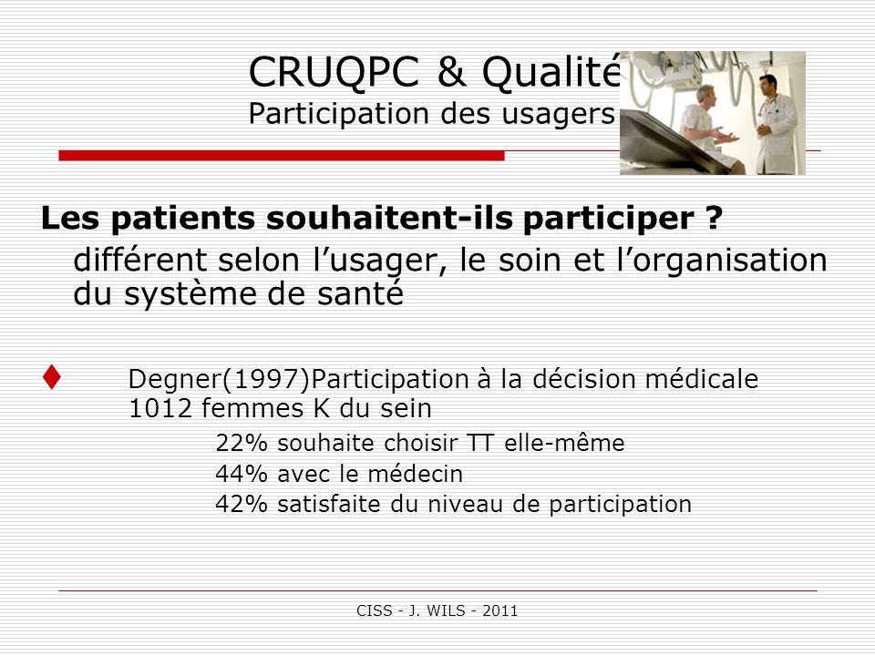 CISS - J. WILS - 2011 CRUQPC & Qualité Participation des usagers Les patients souhaitent-ils participer ? différent selon lusager, le soin et lorganis