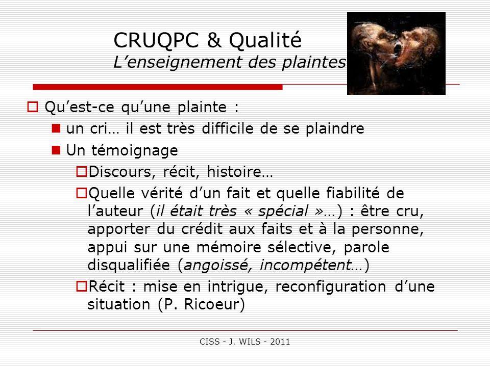 CISS - J. WILS - 2011 CRUQPC & Qualité Lenseignement des plaintes (1) Quest-ce quune plainte : un cri… il est très difficile de se plaindre Un témoign