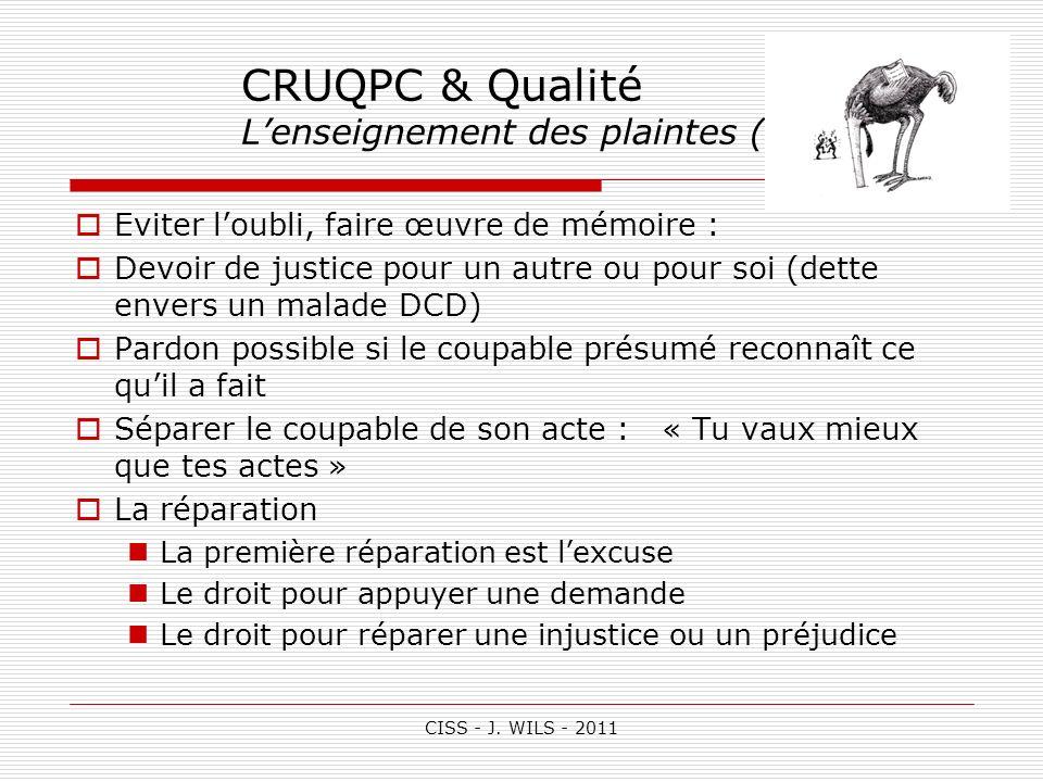CISS - J. WILS - 2011 CRUQPC & Qualité Lenseignement des plaintes (3) Eviter loubli, faire œuvre de mémoire : Devoir de justice pour un autre ou pour