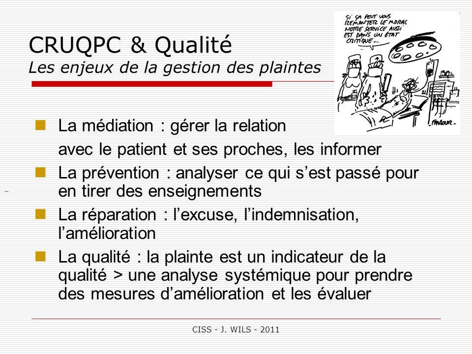 CISS - J. WILS - 2011 CRUQPC & Qualité Les enjeux de la gestion des plaintes La médiation : gérer la relation avec le patient et ses proches, les info