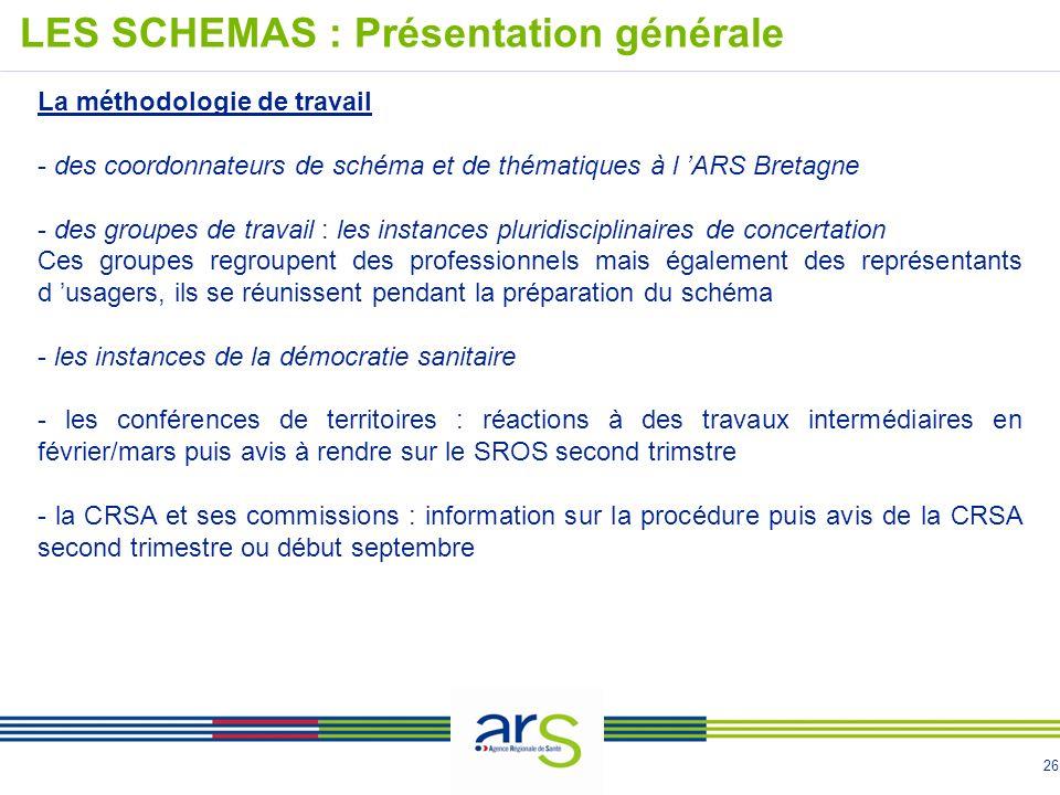 26 La méthodologie de travail - des coordonnateurs de schéma et de thématiques à l ARS Bretagne - des groupes de travail : les instances pluridiscipli