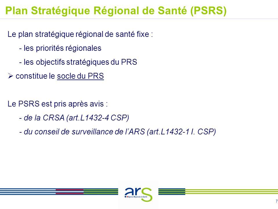 7 Le plan stratégique régional de santé fixe : - les priorités régionales - les objectifs stratégiques du PRS constitue le socle du PRS Le PSRS est pr