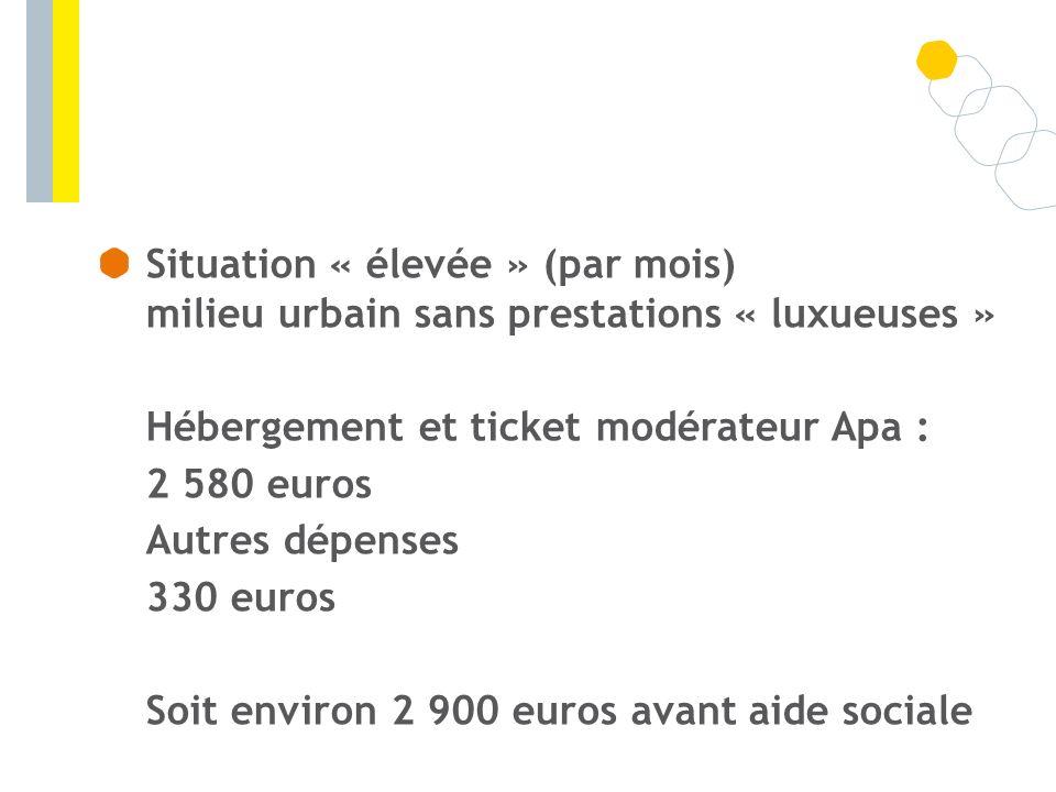 Situation « élevée » (par mois) milieu urbain sans prestations « luxueuses » Hébergement et ticket modérateur Apa : 2 580 euros Autres dépenses 330 eu